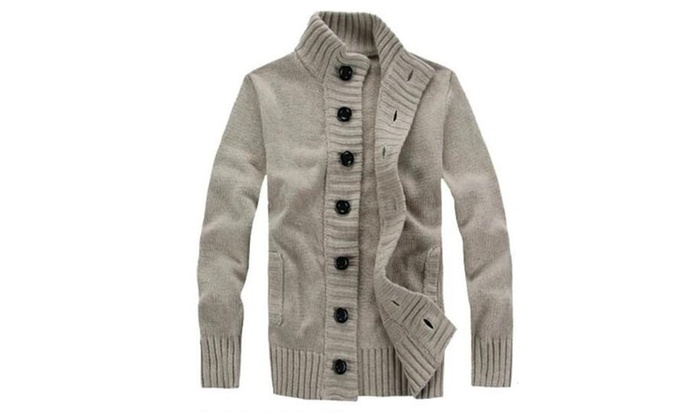 Mens Casual Stand Collar Cable Knitted Button Down Cardigan ...