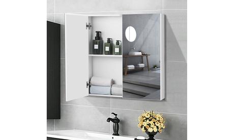 Bathroom Cabinet Medicine Cabinet Wall Mount Double Door with Shelf and Mirror