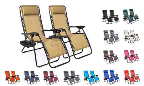 Set of 2 Adjustable Steel Mesh Zero Gravity Lounge Chair Recliners
