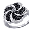 Jewelonfire 1 CT Black & White Diamond Flower Ring in SS 13476