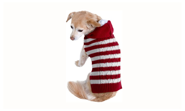 red white stripe sweater hoodie dog christmas clothes costume