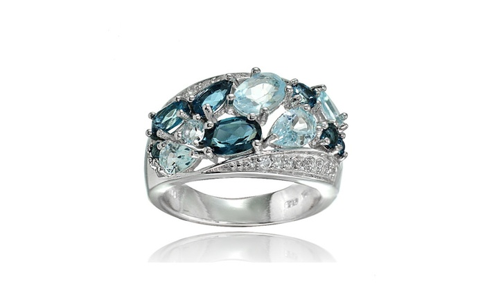 Groupon Goods: Sterling Silver London Blue, Blue and White Topaz Cluster Tonal Ring