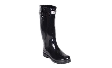 Women Black Classic Full Rubber Rain Boots /w Faux Fur Lining 2e64fe56-a09f-457f-bc08-0489ab8630a3