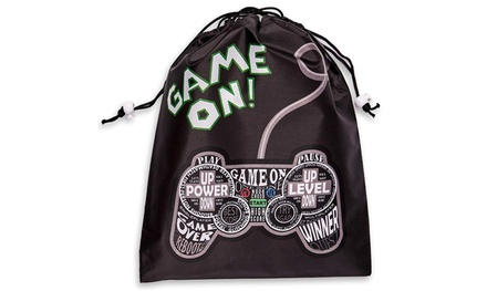 Game On Design 9.5 x 12 inches Juvale 12-Pack Drawstring Party Favor Bags Video Gamer Supplies