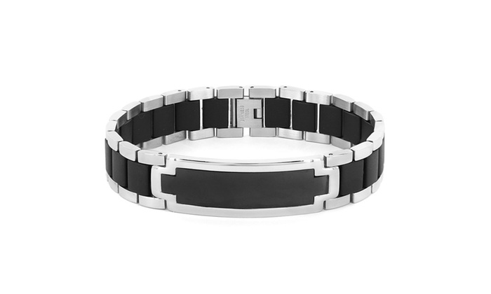 Groupon Goods: Stainless Steel Men's Rubber ID-style Bracelet