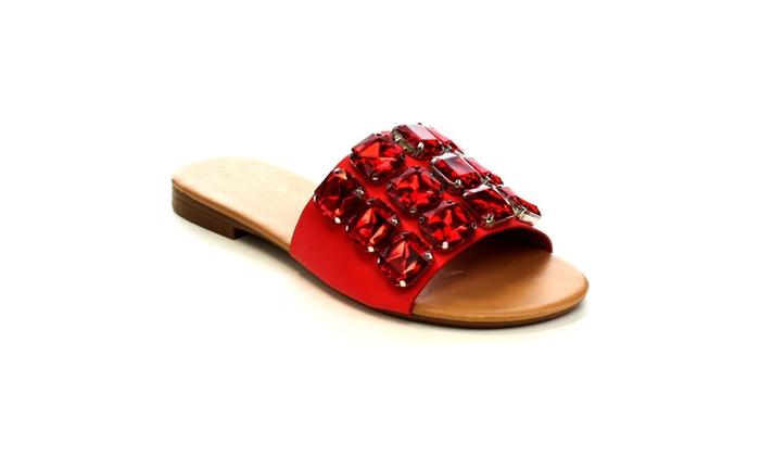 Beston EA65 Women's Large Sparkling Jewels Slip On Slide Flat Sandals