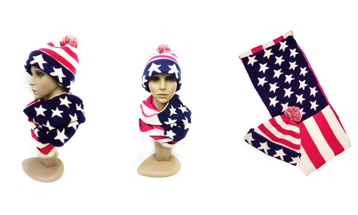 Winter Warm American Flag Infinity Scarf and Hat Set-Prefect Xmas Gift
