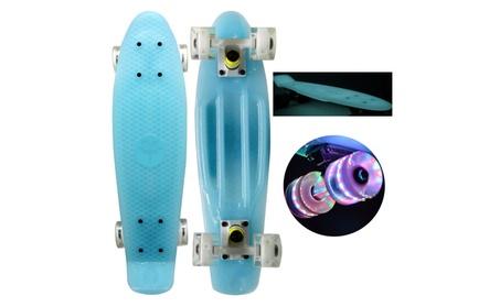 "22"" Mini Retro Plastic Cruiser Skateboard -Blue Glow in dark LED 51718d62-74a1-4cd3-969a-75bda67a5233"
