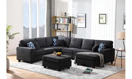Mislata Dark Gray Woven 7Piece Modular L-Shape Sectional Sofa Chaise and Ottoman