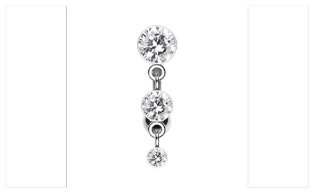 Triple Crystalline Reverse Belly Button Ring 3971f647-ede5-4cf1-93f9-92e2a3b0dfba