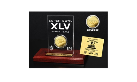 Super Bowl XLV - Champions 24KT Gold Etched Acrylic Coin 93e2b3cc-05b3-4ac9-b2e9-94be1ae332eb