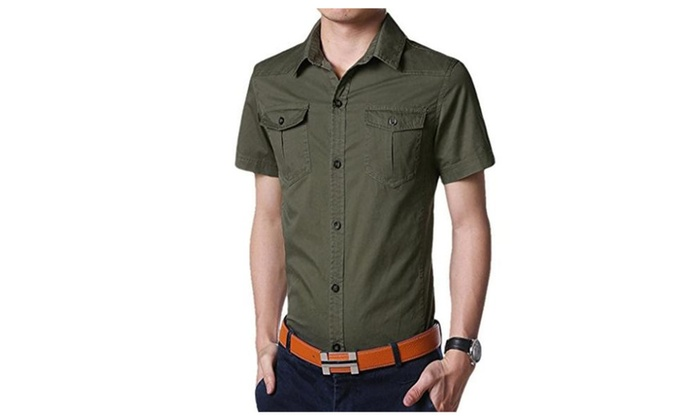 Men's 100% Cotton Summer Short Sleeve Casual Button Down Shirts 2 Chest Pockets