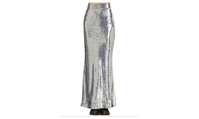 Women's Silver Sparkly Sequined Fishtail High Waist Skirt