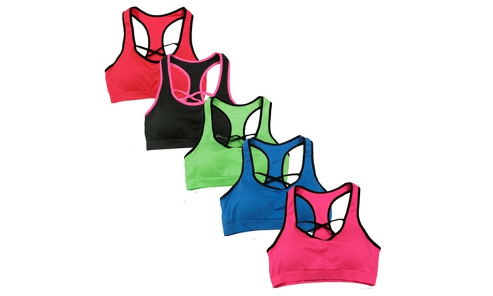 Women's 6 Pack Seamless Front Cross Solid Color Racerback Sports Bras