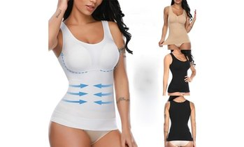 Women Built In Removable Bra Pads Postpartum Body Shaper Vest Tank Tops