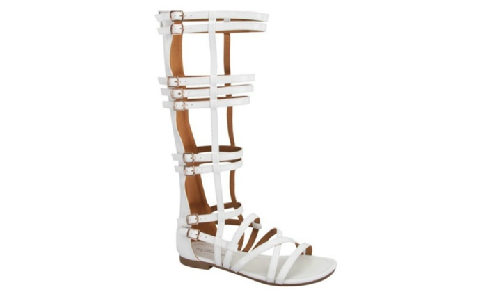 Gladiator Multi Strap with Bubkle Accent Back Zipper Sandals