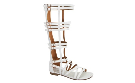 Gladiator Multi Strap with Bubkle Accent Back Zipper Sandals 33a7cb8b-f207-4311-929f-24c8a83f6ace