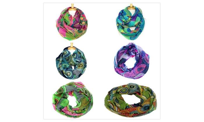 Women's Lightweight Rainbow Print Soft Infinity Scarves