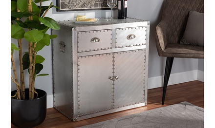 Davet French Industrial Silver Aluminium 2-Drawer 2-Door Cabinet