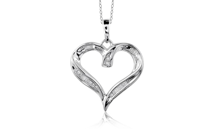 Groupon Goods: Jewelonfire 1/4 CT White Diamond Open Heart Pendant in SS 23890