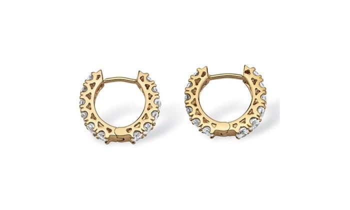 2 40 Tcw Cubic Zirconia Huggie Hoop Earrings 14k Gold Plated 5