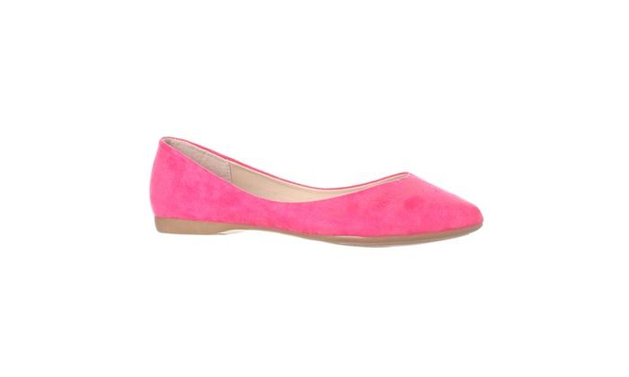 Riverberry 'Ella' Pointed Toe Ballet Flat Slip On, Fuchsia Suede