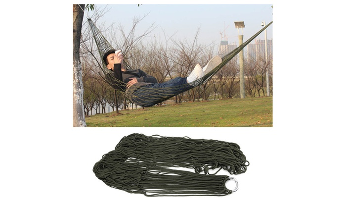 Outdoor Hammock Travel Camping Net Mesh Nylon Rope Bed Portable