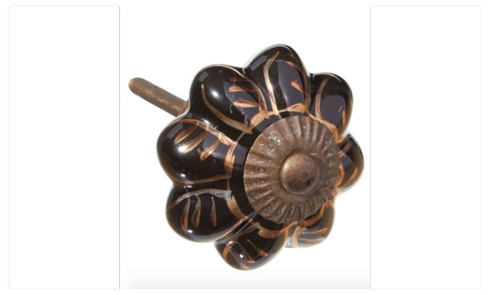 Black Golden Leaf Ceramic Drawer Pulls, Knobs - Pack of 6