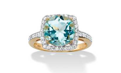 Fine Jewelry Genuine Blue Topaz and Cubic Zirconia 14K Yellow Gold Over Brass Ring Knkaz