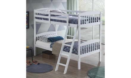 Wood Hardwood Twin Bunk Beds Convertible into 2 Individual Kid Bed Ladder White