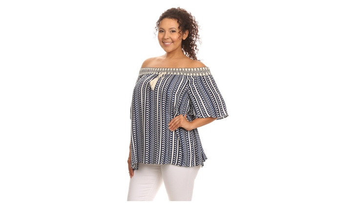 f683b52053376 Hadari Women s Plus Size Chevron Striped Tunic Top