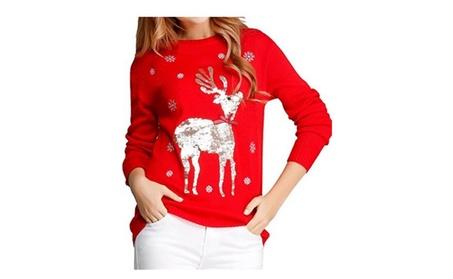 Women Cute Shining Reindeer Pullover Christmas Sweater 2e4d154f-373a-4fc0-a073-e6459f6c190a