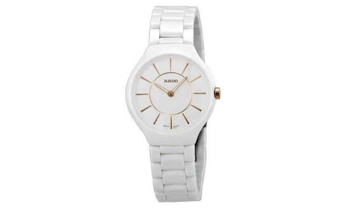00f0830da Rado True Thinline White ceramic Women's Wrist Band Watch R27958102