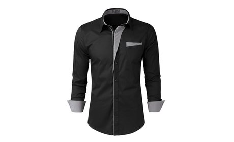 SHH Mens Slim Fit Cotton Flannel Long Sleeve Button Down Shirts