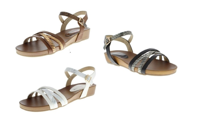 Moca Women's Multi Strap Metallic Snake Print Sandals