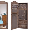 Mounted Mirrored Jewelry Cabinet Full Sized Mirror Armoire Storage Organizer