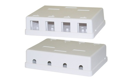 Cables Wholesale Blank Surface Mount Box for Keystones, 4 Hole 7d674bbc-abc2-4018-bbc4-150ba170aa93