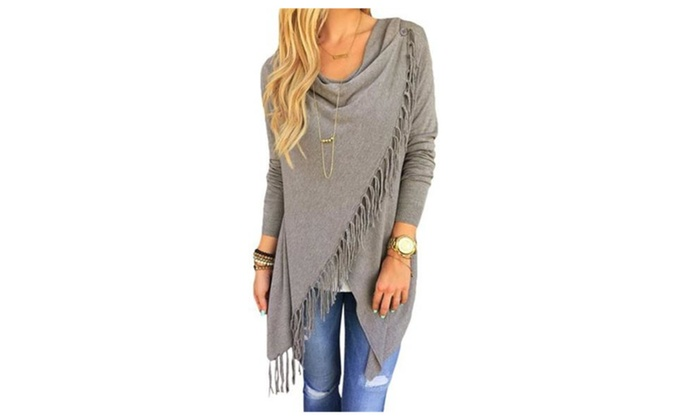 Women's Spring Tops Irregular Tassels Hem Poncho Coat Shirt