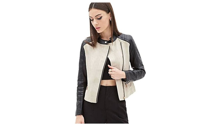Mlotus Women's Slim Zip Up Faux Leather Motorcycle Jacket Stand Collar Coat
