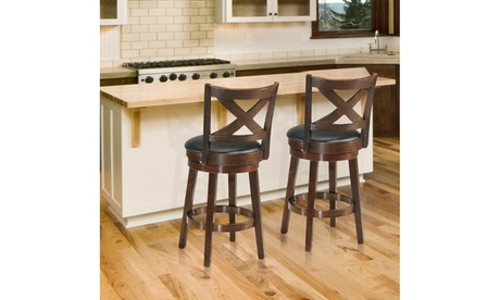 Costway Set of 2 Bar Stools Swivel Backed Dining Chair Home Kitchen 24