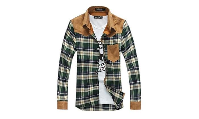 Fashion Color matching Casual Men Plaid Long Sleeve Slim Fit Shirt - Army Green / Medium