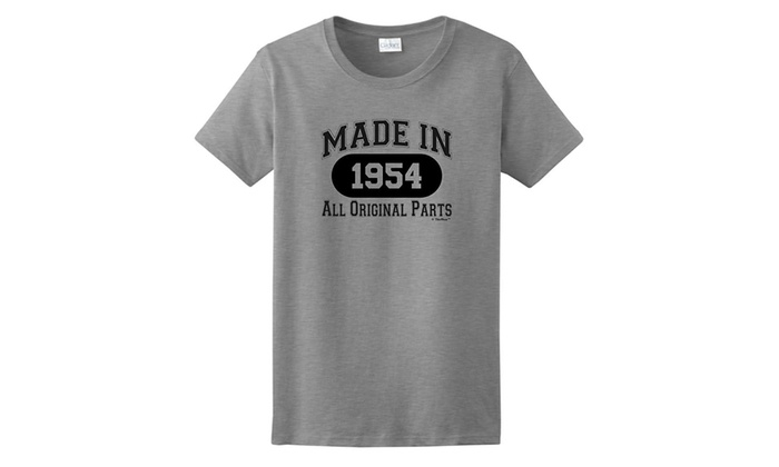 65th Birthday Gifts Made 1954 All Original Parts Ladies T Shirt