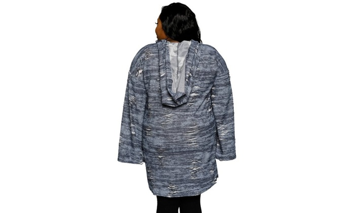 2e44df3e218 Xehar Women s Plus Size Distressed Oversized Hoodie Sweater Dress ...