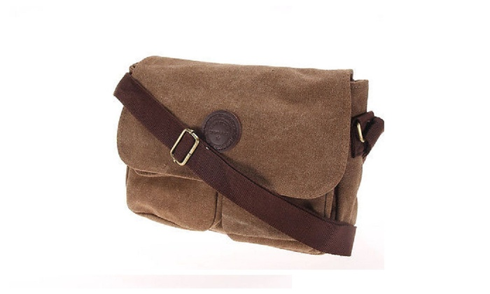 Men's Vintage Canvas Schoolbag Satchel Shoulder Messenger Bag Laptop