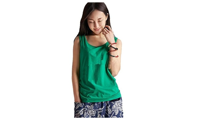 Uninukoo Womens Cotton Loose Sleeveless Blouse Shirt Top Vest - Green / One Size