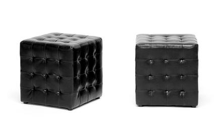 Set of 2 Siskal Tufted Cube Ottomans