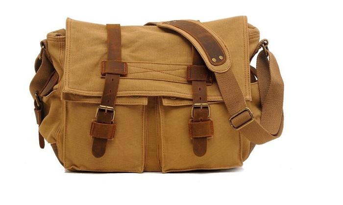 "Men/'s Military Canvas Leather Satchel School 14/"" Laptop Shoulder Messenger Bag"