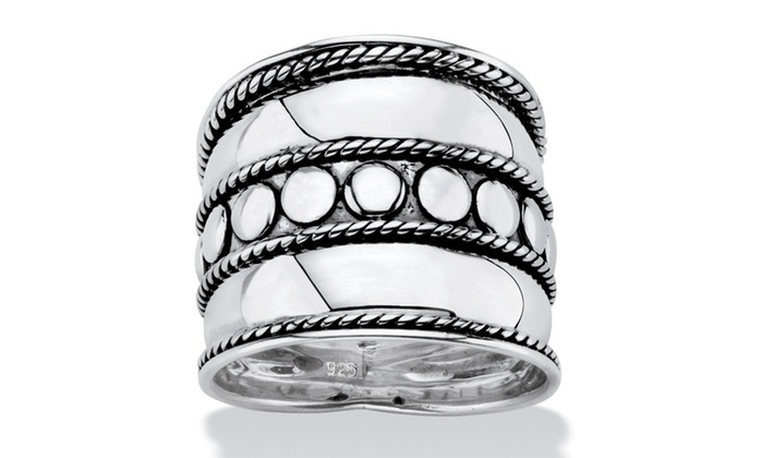 Groupon Goods: Antiqued .925 Sterling Silver Bali Bohemian Cigar-Style Wide Band Ring