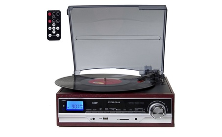 Bluetooth Retro Turntable w/ SD USB MP3 AM/FM Stereo Built-in Speakers 4ccd7a9d-d06c-4c35-a5a2-14c25cb95c66