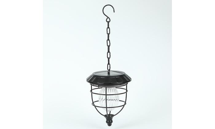 Solar Hanging Accent Globe Light In Iron Lantern